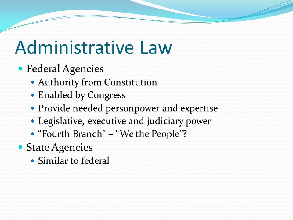 Federal Agencies Authority from Constitution Enabled by Congress Provide needed personpower and expertise Legislative, executive and judiciary power ""