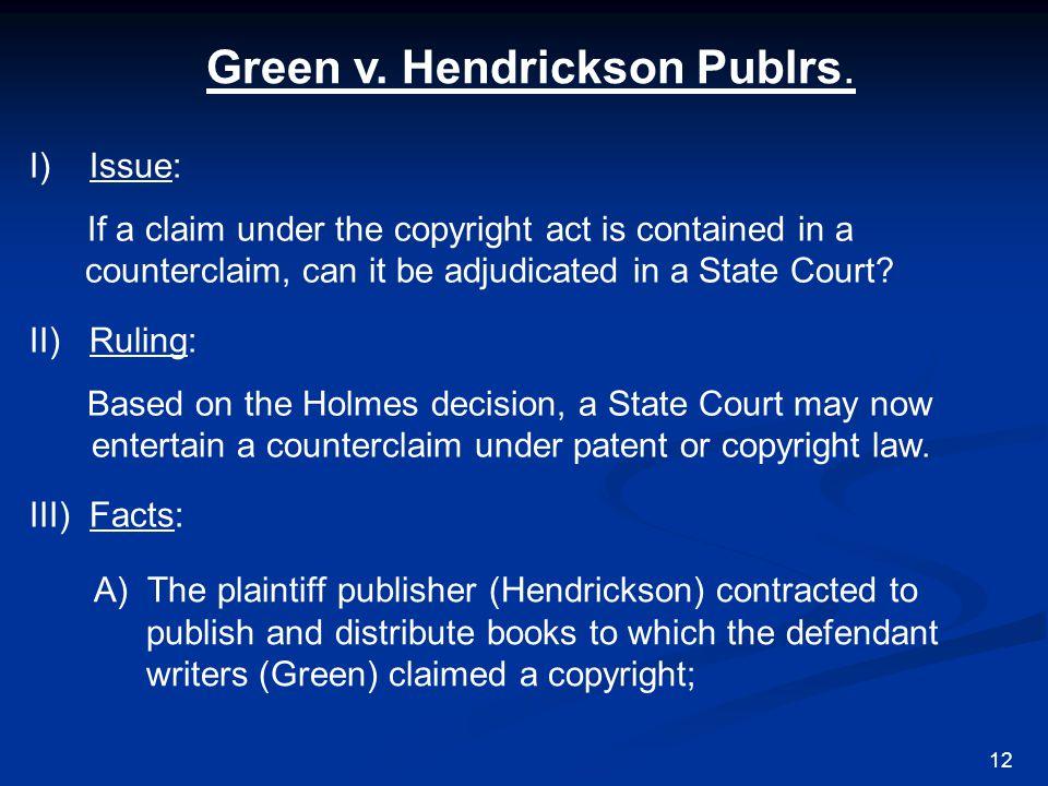 Green v. Hendrickson Publrs.