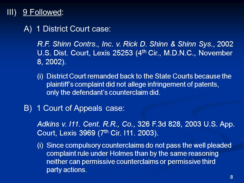 B) 1 Court of Appeals case: Adkins v. I11. Cent.