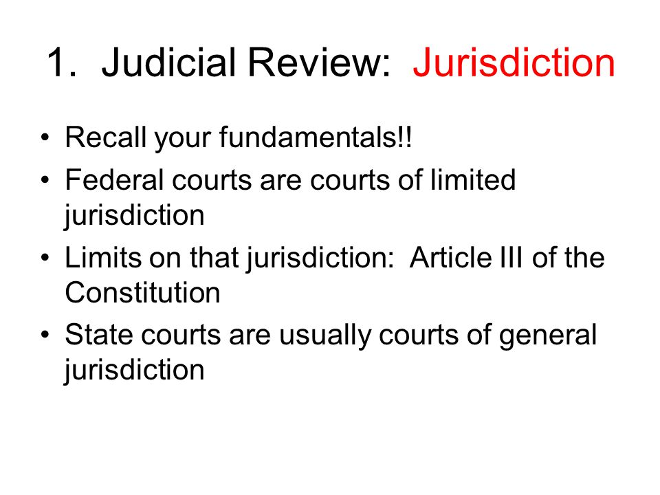 Jurisdiction (cont'd) No one gets into the pearly gates of federal court unless Congress says so Congress must have enacted a statutory permission slip Every case filed in a federal court requires a jurisdictional statute The statutes are found in U.S.C.