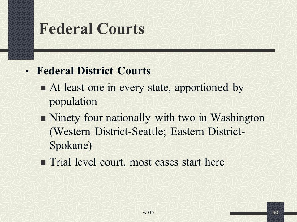 w.05 30 Federal Courts Federal District Courts At least one in every state, apportioned by population Ninety four nationally with two in Washington (Western District-Seattle; Eastern District- Spokane) Trial level court, most cases start here