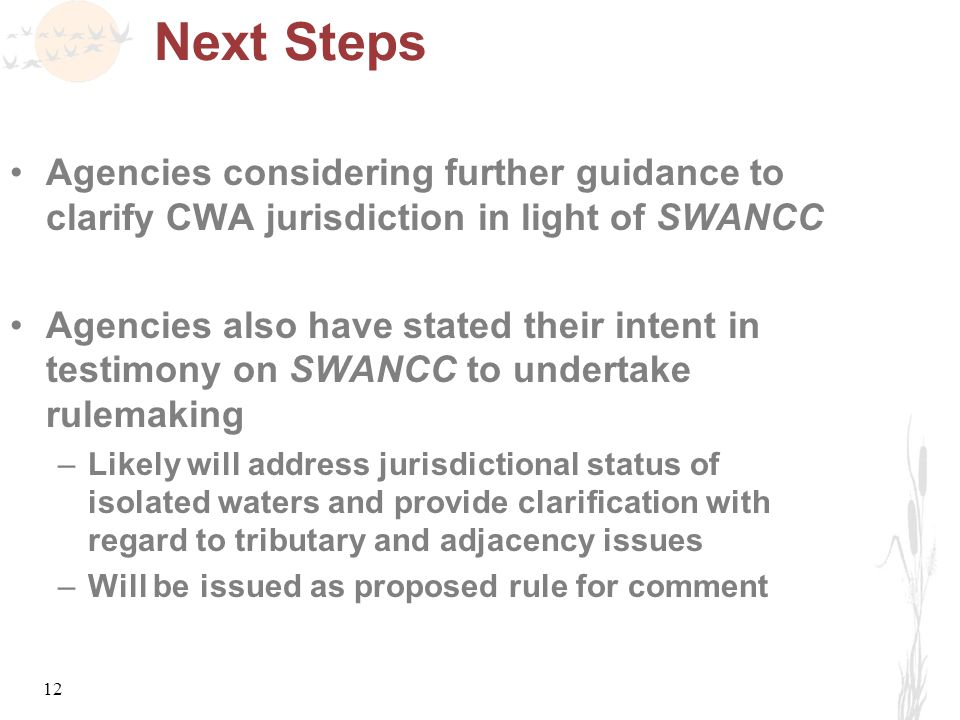 12 Next Steps Agencies considering further guidance to clarify CWA jurisdiction in light of SWANCC Agencies also have stated their intent in testimony on SWANCC to undertake rulemaking –Likely will address jurisdictional status of isolated waters and provide clarification with regard to tributary and adjacency issues –Will be issued as proposed rule for comment