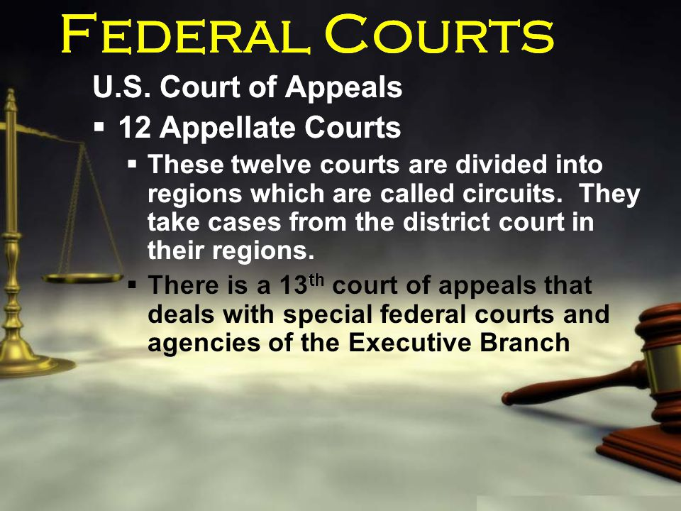 Federal Courts U.S. Court of Appeals  12 Appellate Courts  These twelve courts are divided into regions which are called circuits. They take cases f