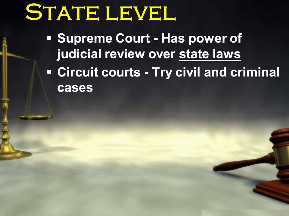 State level  Supreme Court - Has power of judicial review over state laws  Circuit courts - Try civil and criminal cases  Supreme Court - Has power
