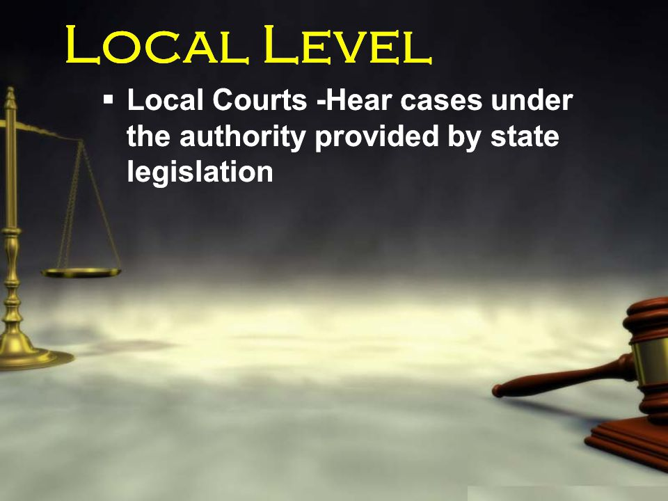 Local Level  Local Courts -Hear cases under the authority provided by state legislation
