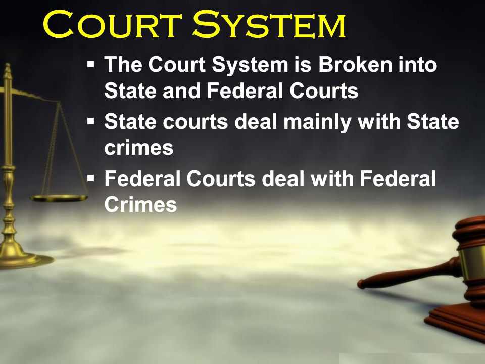 Court System  The Court System is Broken into State and Federal Courts  State courts deal mainly with State crimes  Federal Courts deal with Federa