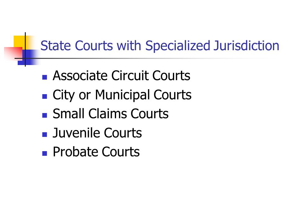 State Courts with Specialized Jurisdiction Associate Circuit Courts City or Municipal Courts Small Claims Courts Juvenile Courts Probate Courts