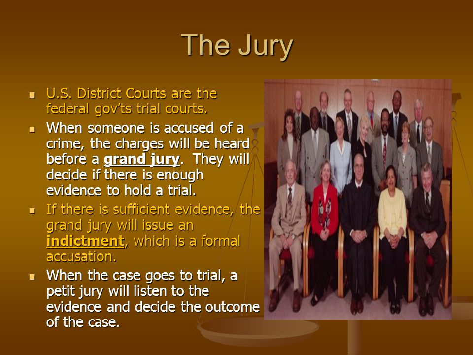 The Jury U.S. District Courts are the federal gov'ts trial courts.