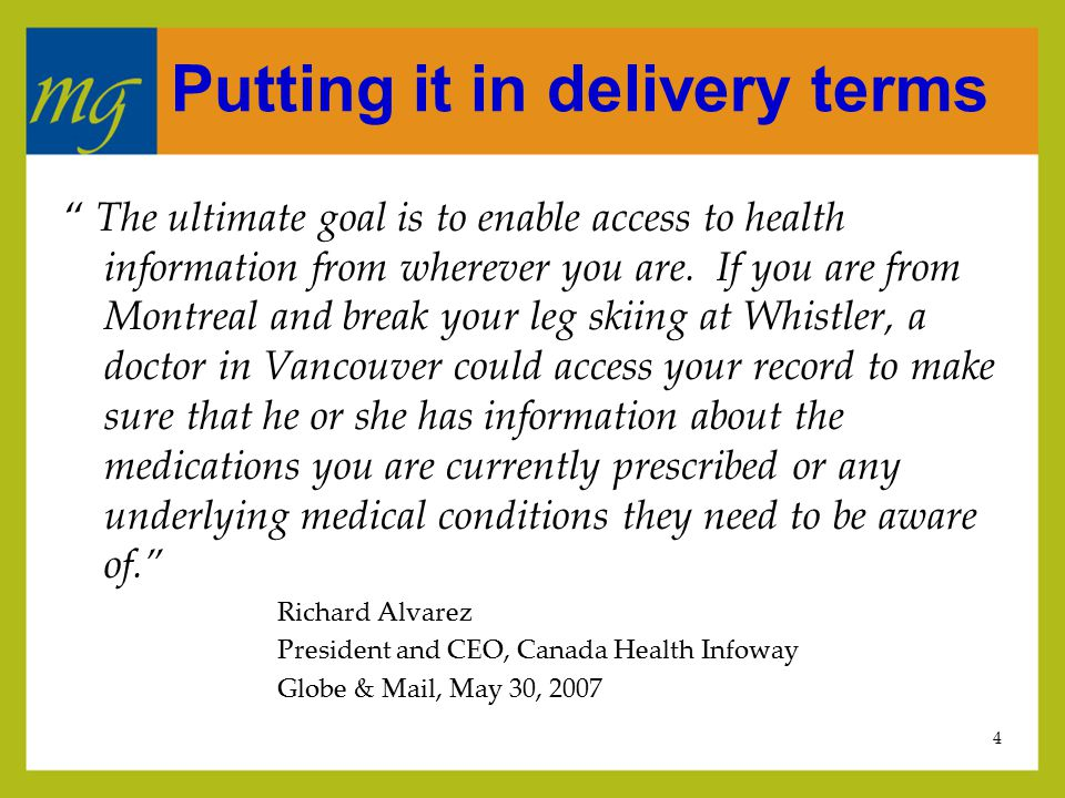 5 The privacy journey…one province's story  1996  Current state assessment of Alberta's health IM/IT infrastructure  1997  Start of Alberta's EHR initiative  Start of consultations on provincial privacy legislation for health information  2001  Canada Health Infoway established  Alberta's Health Information Act passed  Physician Office System Program established  2003  Agreement on Primary Care Initiative reached  2005  Pan-Canadian Health Information Privacy & Confidentiality Framework  POSP makes PIAs a 'required' service  2007  Infoway White Paper on Information Governance of the iEHR