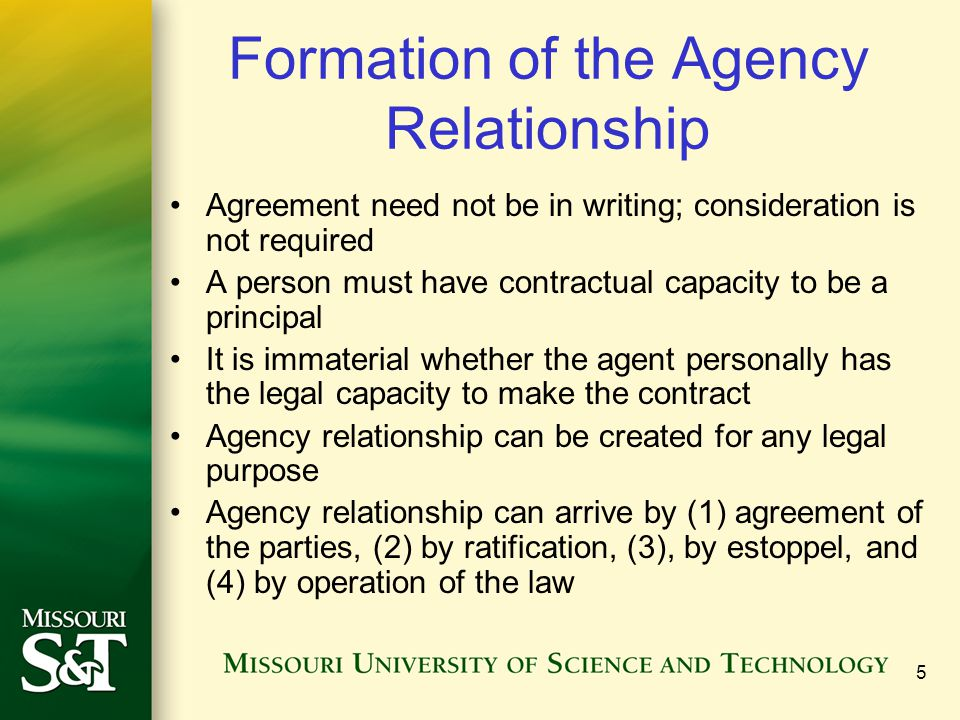 36 Ratification Occurs when the principal affirms, or accepts responsibility for, an agent's unauthorized acts.