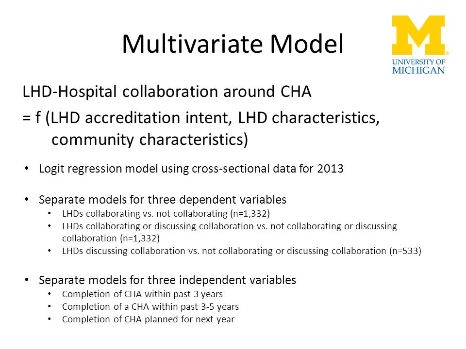 Multivariate Model LHD-Hospital collaboration around CHA = f (LHD accreditation intent, LHD characteristics, community characteristics) Logit regressi