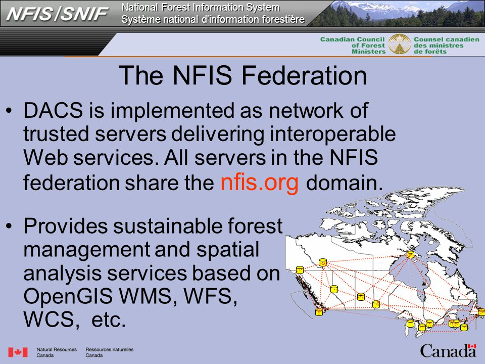 National Forest Information System Système national d information forestière DACS is implemented as network of trusted servers delivering interoperable Web services.