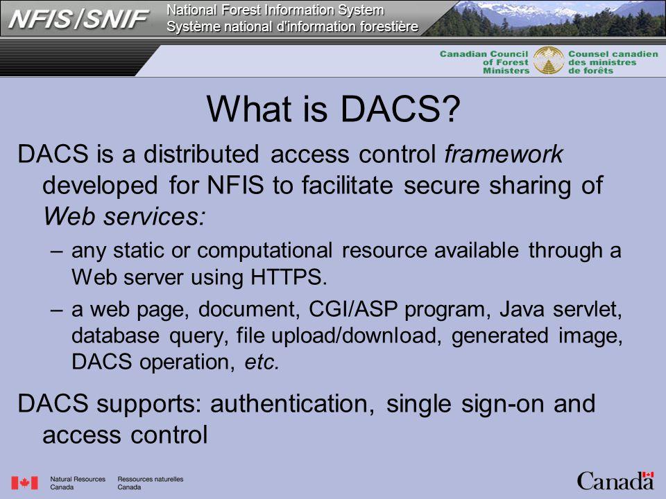 National Forest Information System Système national d information forestière What is DACS.