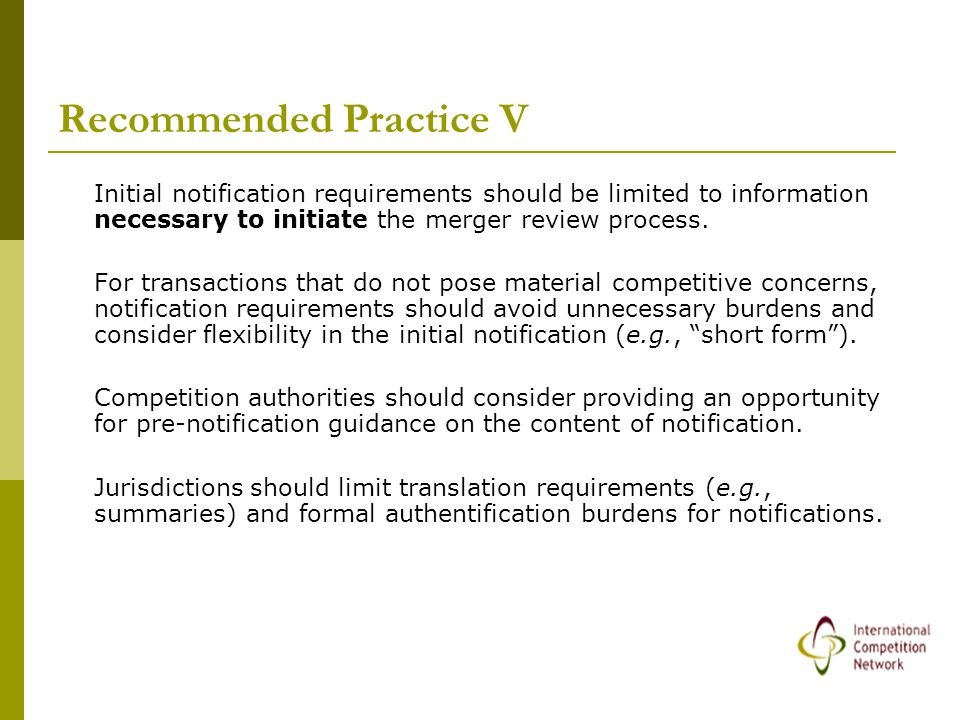 Recommended Practice V Initial notification requirements should be limited to information necessary to initiate the merger review process.