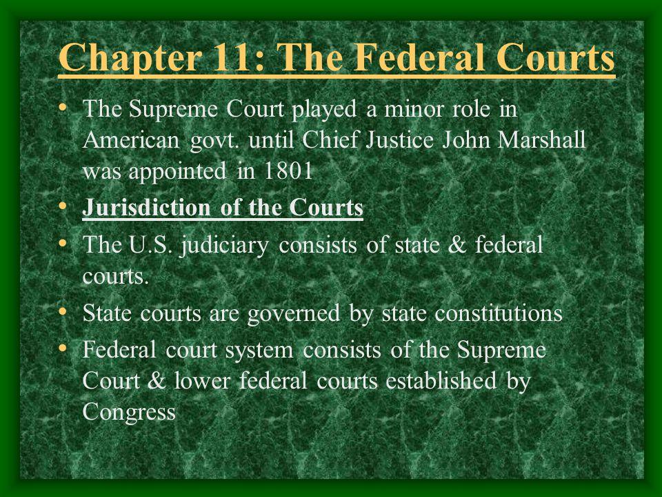 Federal Court Jurisdiction Jurisdiction: the authority to hear certain cases Concurrent Jurisdiction: U.S.