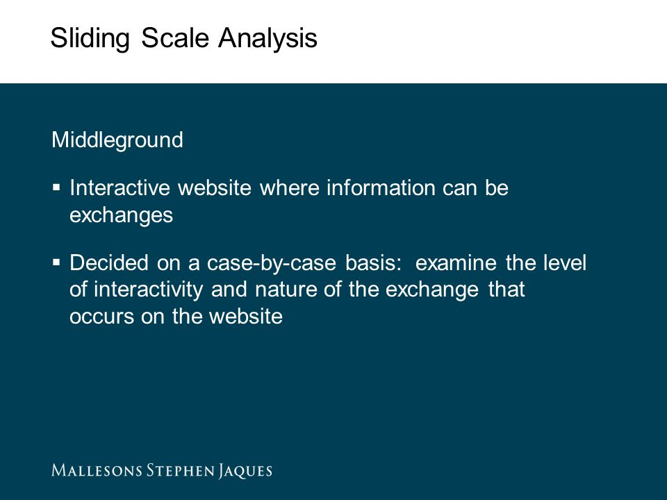 Sliding Scale Analysis Middleground  Interactive website where information can be exchanges  Decided on a case-by-case basis: examine the level of interactivity and nature of the exchange that occurs on the website