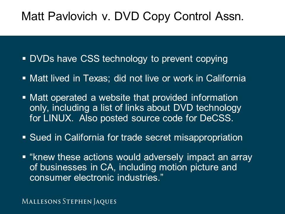 Matt Pavlovich v. DVD Copy Control Assn.