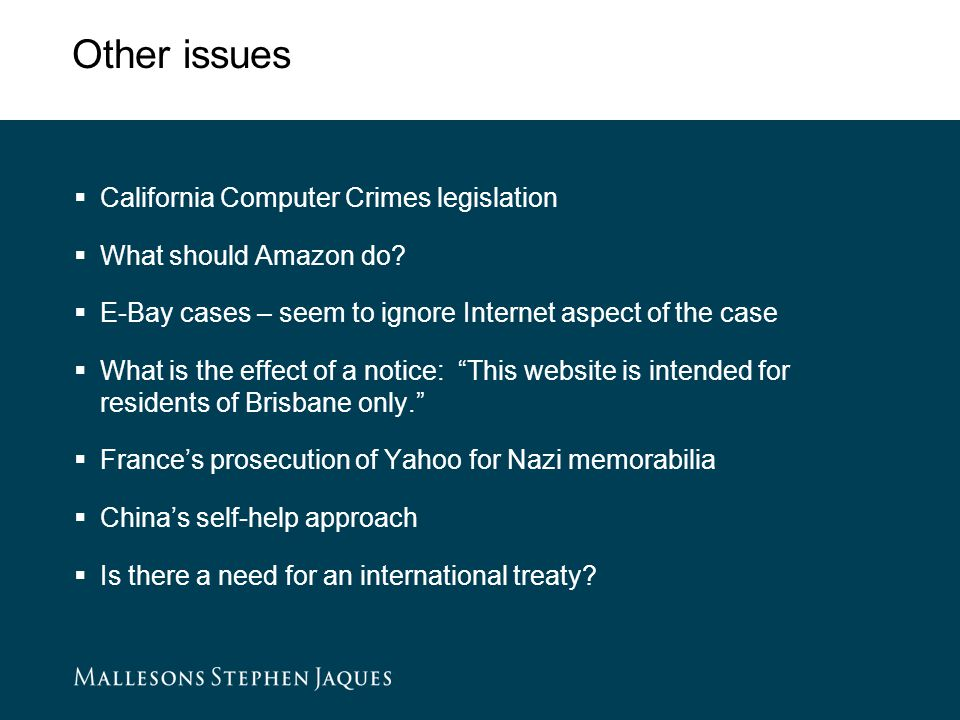 Other issues  California Computer Crimes legislation  What should Amazon do.