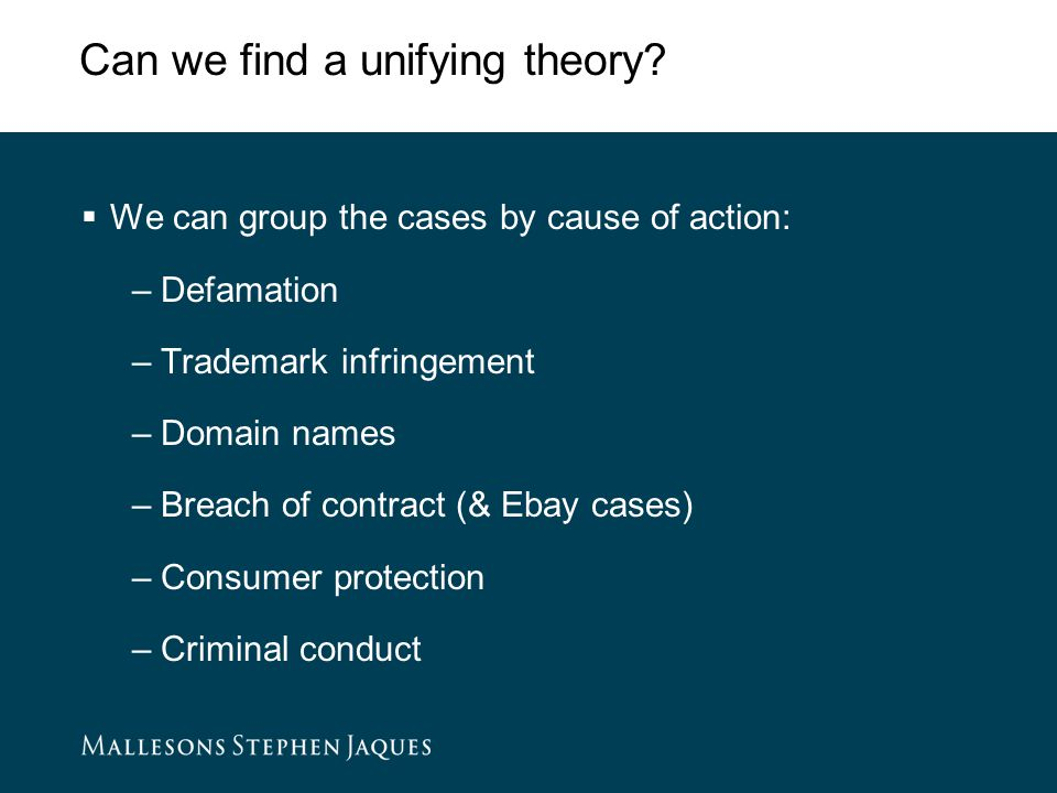 Can we find a unifying theory.