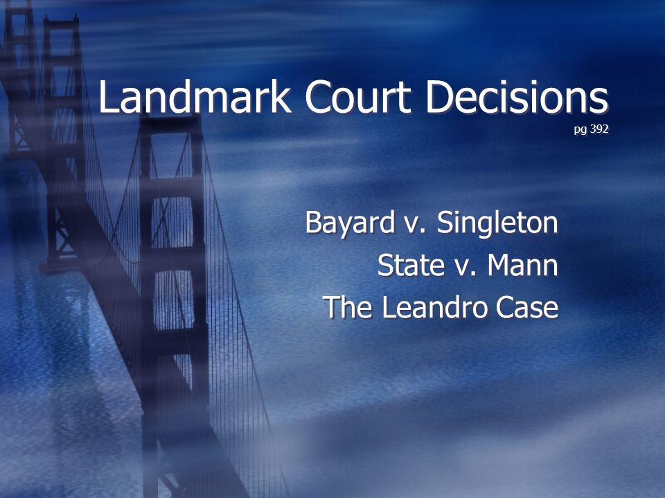 Landmark Court Decisions pg 392 Bayard v.Singleton State v.