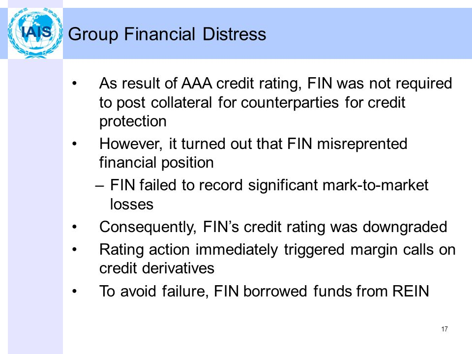 17 Group Financial Distress As result of AAA credit rating, FIN was not required to post collateral for counterparties for credit protection However, it turned out that FIN misreprented financial position –FIN failed to record significant mark-to-market losses Consequently, FIN's credit rating was downgraded Rating action immediately triggered margin calls on credit derivatives To avoid failure, FIN borrowed funds from REIN