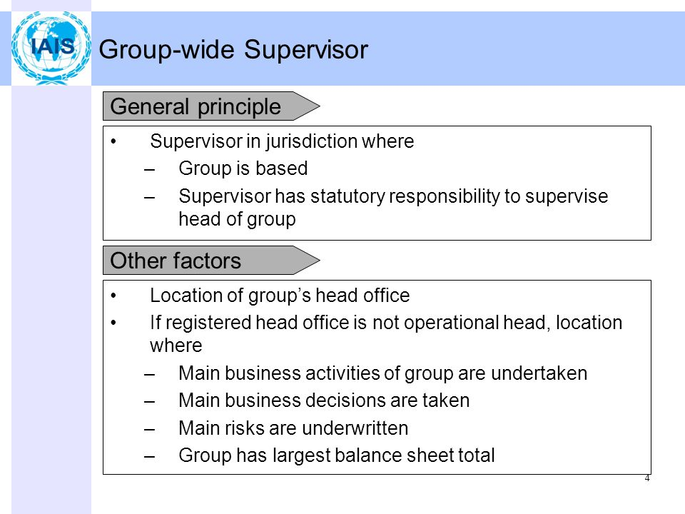 4 Group-wide Supervisor Supervisor in jurisdiction where –Group is based –Supervisor has statutory responsibility to supervise head of group Location of group's head office If registered head office is not operational head, location where –Main business activities of group are undertaken –Main business decisions are taken –Main risks are underwritten –Group has largest balance sheet total General principle Other factors