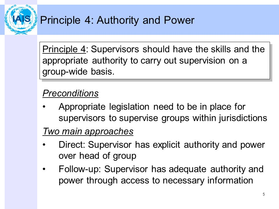 5 Principle 4: Authority and Power Principle 4: Supervisors should have the skills and the appropriate authority to carry out supervision on a group-wide basis.