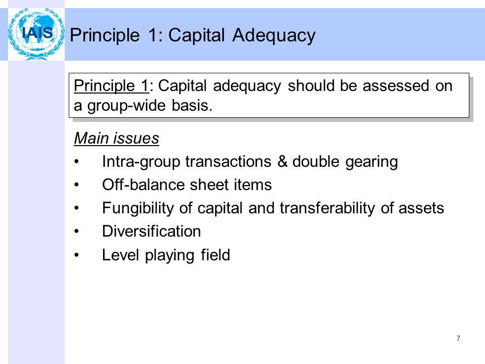 7 Principle 1: Capital Adequacy Principle 1: Capital adequacy should be assessed on a group-wide basis.