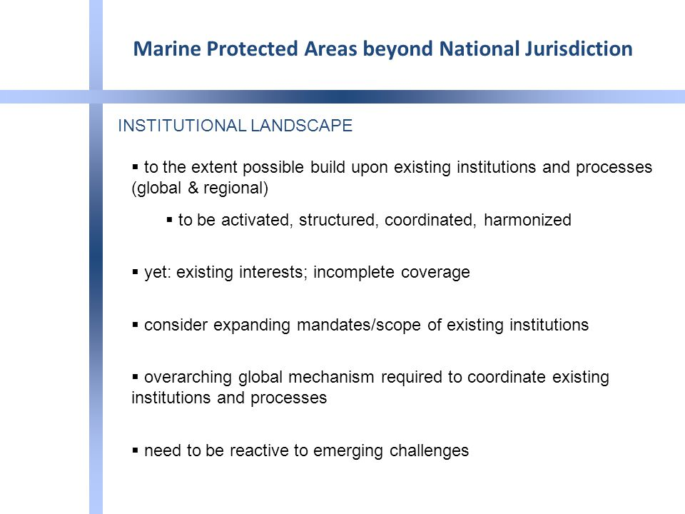 INSTITUTIONAL LANDSCAPE  to the extent possible build upon existing institutions and processes (global & regional)  to be activated, structured, coordinated, harmonized  yet: existing interests; incomplete coverage  consider expanding mandates/scope of existing institutions  overarching global mechanism required to coordinate existing institutions and processes  need to be reactive to emerging challenges Marine Protected Areas beyond National Jurisdiction