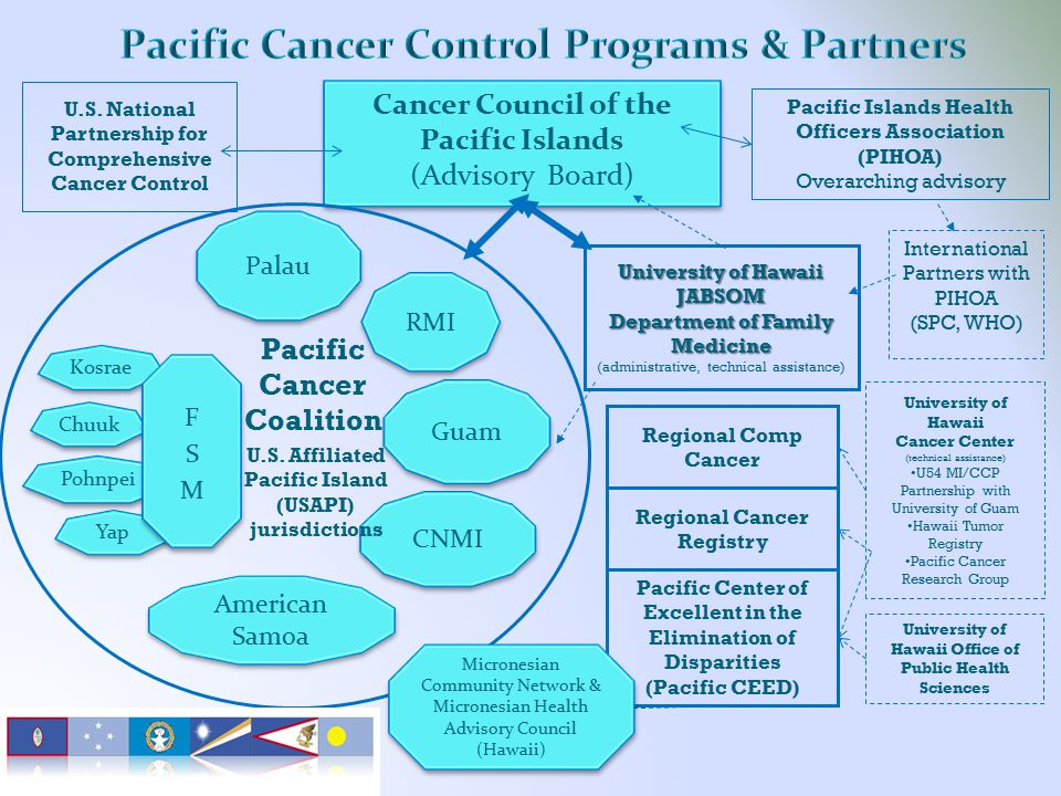 Cancer Council of the Pacific Islands (Advisory Board) Cancer Council of the Pacific Islands (Advisory Board) Pacific Cancer Coalition University of Hawaii Cancer Center (technical assistance) U54 MI/CCP Partnership with University of Guam Hawaii Tumor Registry Pacific Cancer Research Group International Partners with PIHOA (SPC, WHO) U.S.