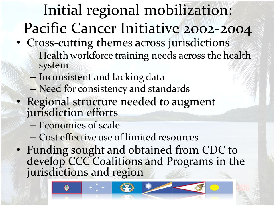 Initial regional mobilization: Pacific Cancer Initiative 2002-2004 Cr0ss-cutting themes across jurisdictions – Health workforce training needs across the health system – Inconsistent and lacking data – Need for consistency and standards Regional structure needed to augment jurisdiction efforts – Economies of scale – Cost effective use of limited resources Funding sought and obtained from CDC to develop CCC Coalitions and Programs in the jurisdictions and region