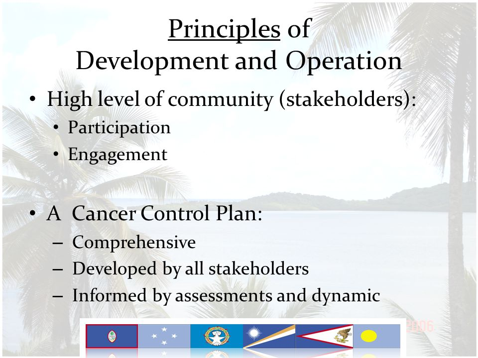 Principles of Development and Operation High level of community (stakeholders): Participation Engagement A Cancer Control Plan: – Comprehensive – Developed by all stakeholders – Informed by assessments and dynamic