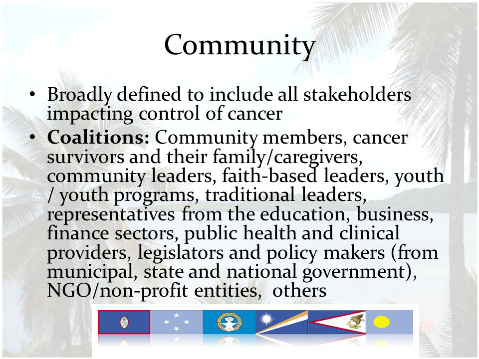 Community Broadly defined to include all stakeholders impacting control of cancer Coalitions: Community members, cancer survivors and their family/caregivers, community leaders, faith-based leaders, youth / youth programs, traditional leaders, representatives from the education, business, finance sectors, public health and clinical providers, legislators and policy makers (from municipal, state and national government), NGO/non-profit entities, others