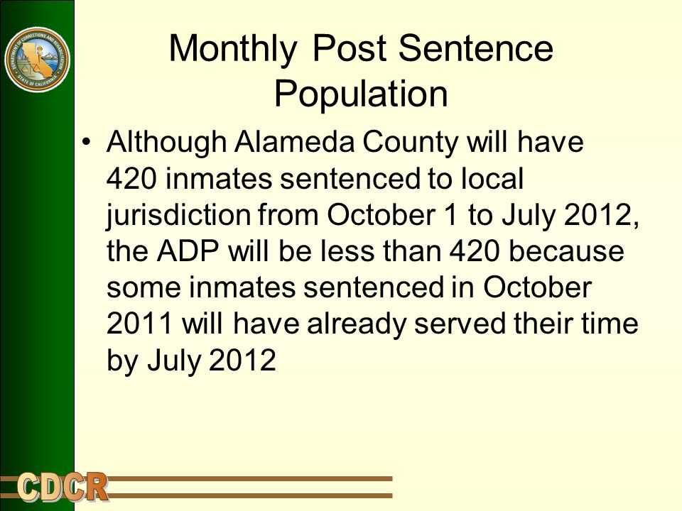 Monthly Post Sentence Population Although Alameda County will have 420 inmates sentenced to local jurisdiction from October 1 to July 2012, the ADP will be less than 420 because some inmates sentenced in October 2011 will have already served their time by July 2012