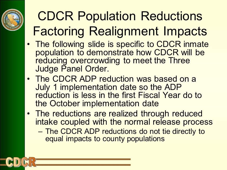 CDCR Population Reductions Factoring Realignment Impacts The following slide is specific to CDCR inmate population to demonstrate how CDCR will be reducing overcrowding to meet the Three Judge Panel Order.