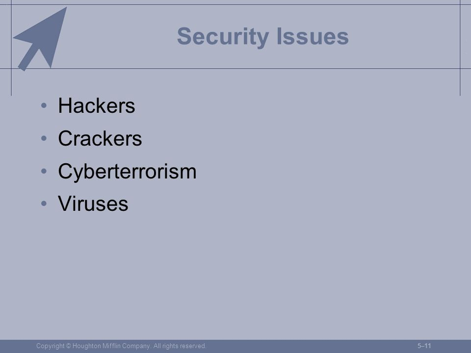 Copyright © Houghton Mifflin Company. All rights reserved.5–11 Security Issues Hackers Crackers Cyberterrorism Viruses