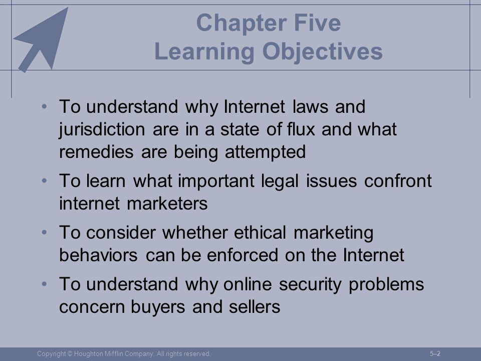 Copyright © Houghton Mifflin Company. All rights reserved.5–25–2 Chapter Five Learning Objectives To understand why Internet laws and jurisdiction are