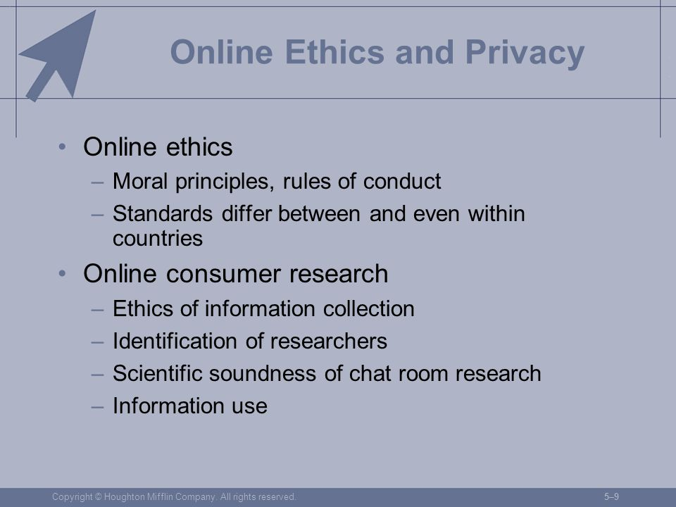 Copyright © Houghton Mifflin Company. All rights reserved.5–95–9 Online Ethics and Privacy Online ethics –Moral principles, rules of conduct –Standard