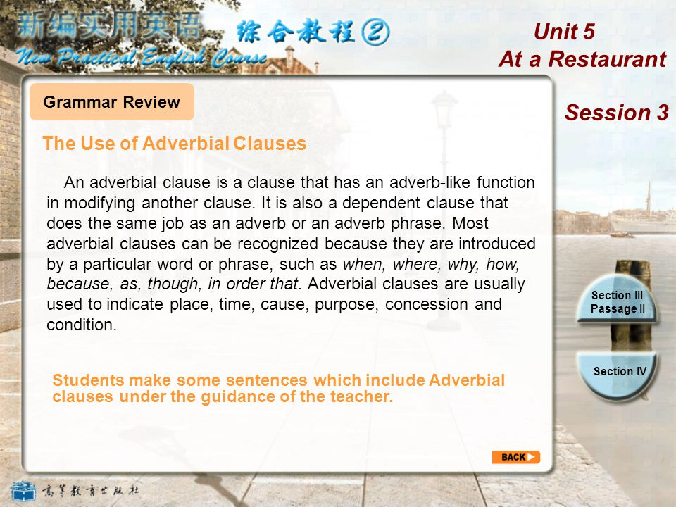 Unit 5 At a Restaurant Session 3 Section III Passage II Section IV Simulate and Create Simulate and Create Reference 1.