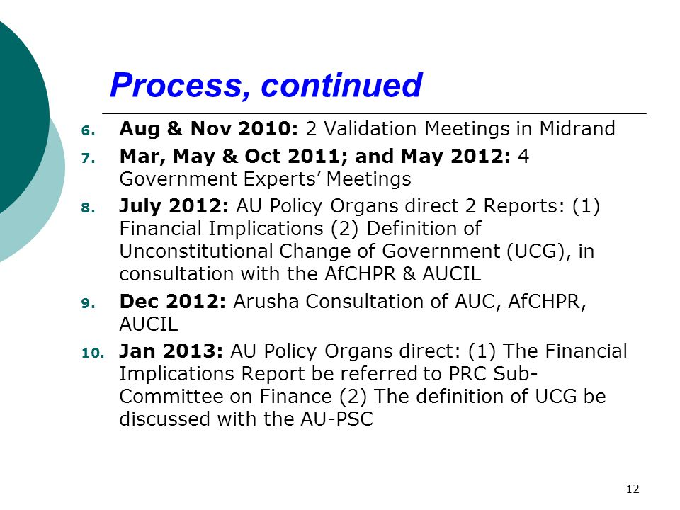 Process, continued 6. Aug & Nov 2010: 2 Validation Meetings in Midrand 7.
