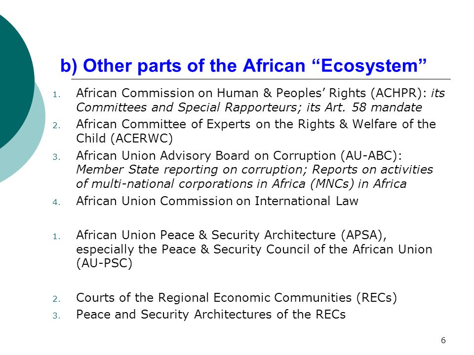 Implementation: AGA, APSA, AHRS  Positive actions in specific country situations: Comoros, Gabon, Niger, Kenya, Cote d'Ivoire, Mali.