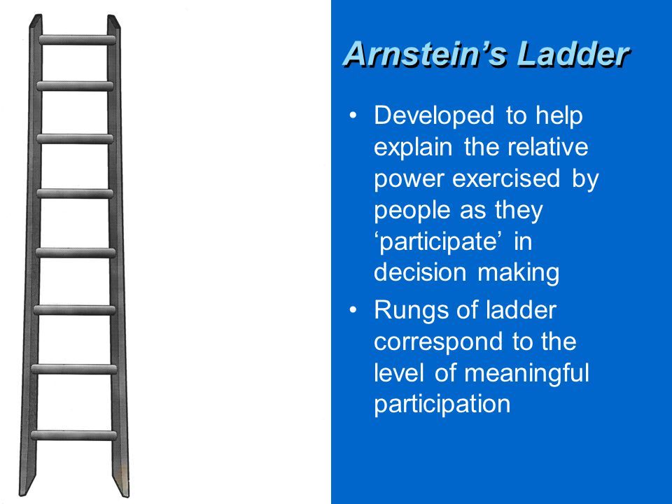 Arnstein's Ladder Developed to help explain the relative power exercised by people as they 'participate' in decision making Rungs of ladder correspond to the level of meaningful participation