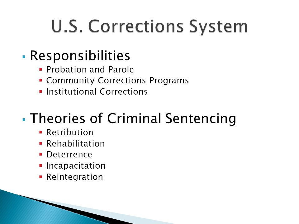  Responsibilities  Probation and Parole  Community Corrections Programs  Institutional Corrections  Theories of Criminal Sentencing  Retribution  Rehabilitation  Deterrence  Incapacitation  Reintegration