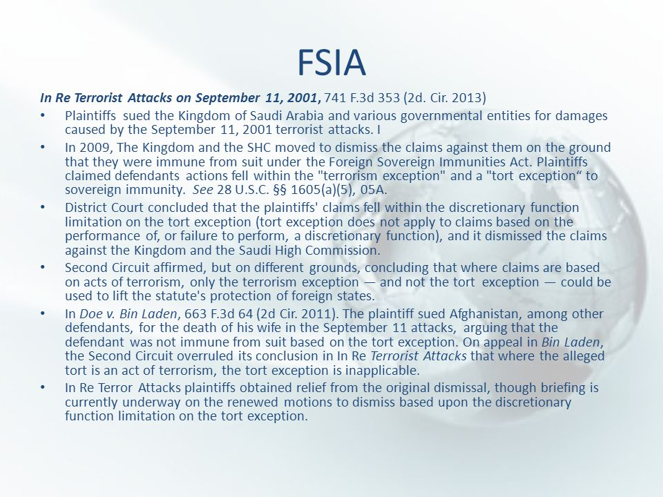 FSIA In Re Terrorist Attacks on September 11, 2001, 741 F.3d 353 (2d.