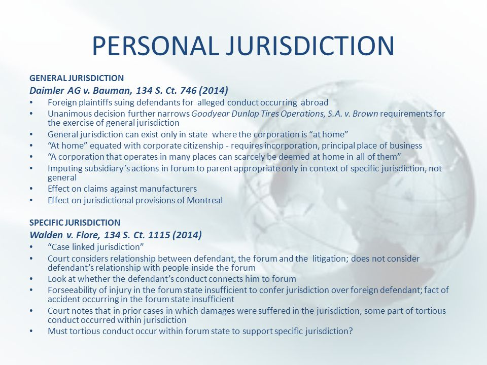 PERSONAL JURISDICTION GENERAL JURISDICTION Daimler AG v.