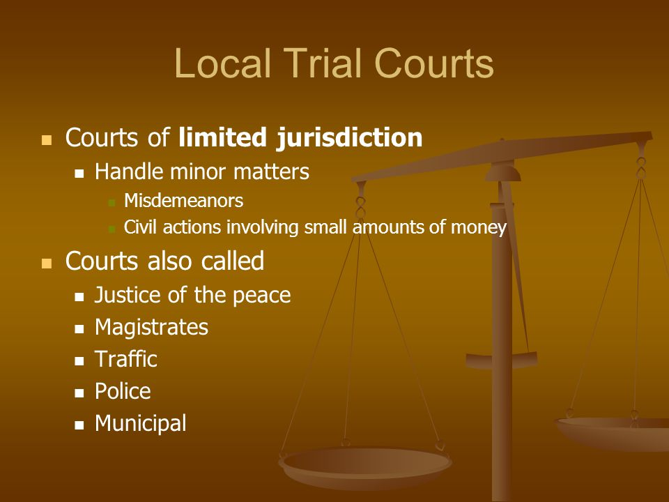 Local Trial Courts Courts of limited jurisdiction Handle minor matters Misdemeanors Civil actions involving small amounts of money Courts also called