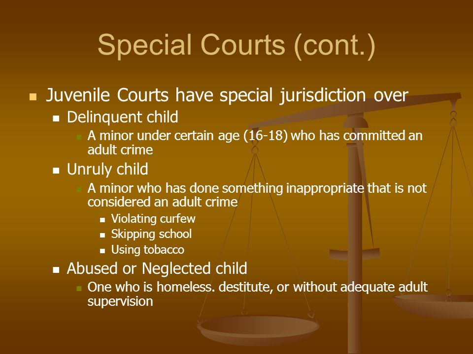 Special Courts (cont.) Juvenile Courts have special jurisdiction over Delinquent child A minor under certain age (16-18) who has committed an adult cr