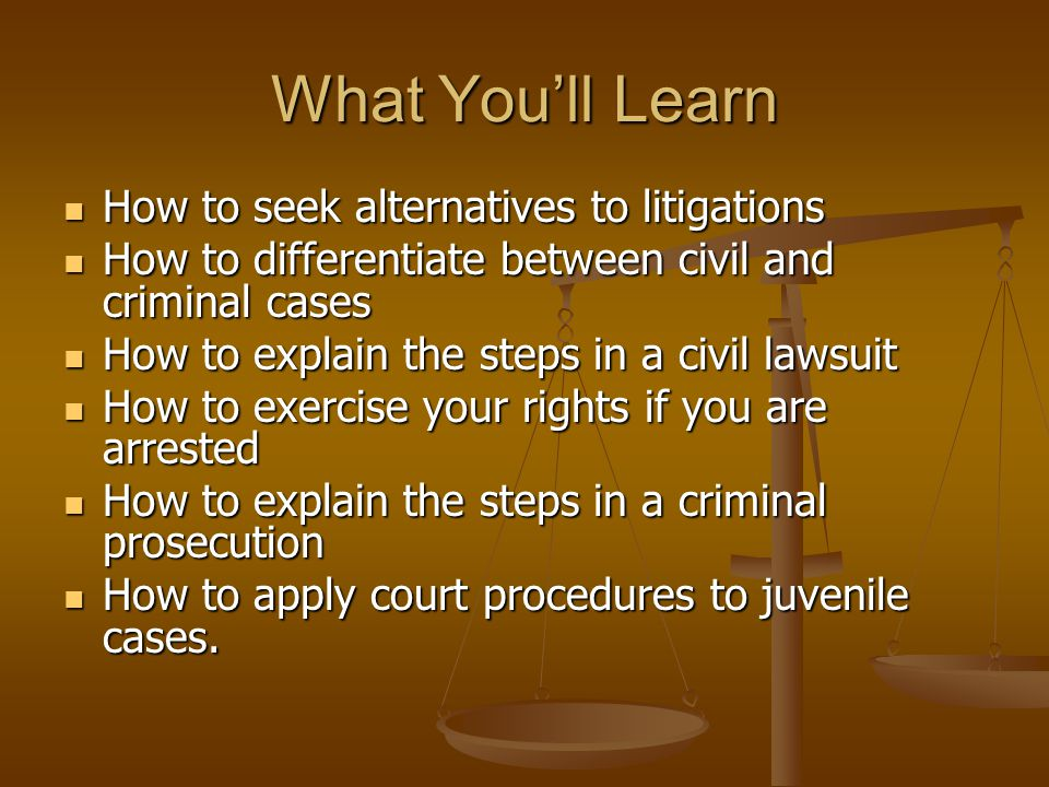 What You'll Learn How to seek alternatives to litigations How to seek alternatives to litigations How to differentiate between civil and criminal case