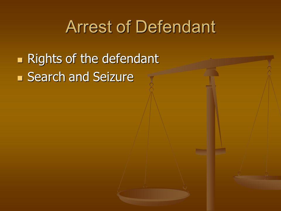 Arrest of Defendant Rights of the defendant Rights of the defendant Search and Seizure Search and Seizure