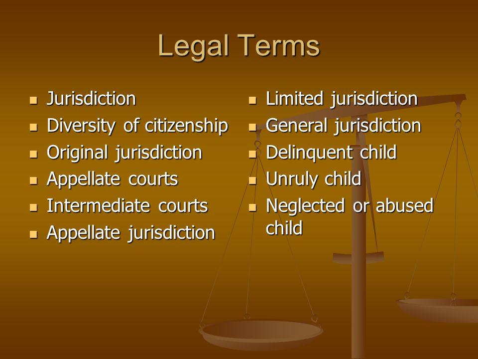 Legal Terms Jurisdiction Jurisdiction Diversity of citizenship Diversity of citizenship Original jurisdiction Original jurisdiction Appellate courts A